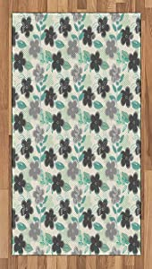 Ambesonne Floral Area Rug, Abstract Nostalgia Pattern with Retro Blooms and Leaves Romantic, Flat Woven Accent Rug for Living Room Bedroom Dining Room, 2.6' x 5', Charcoal Grey