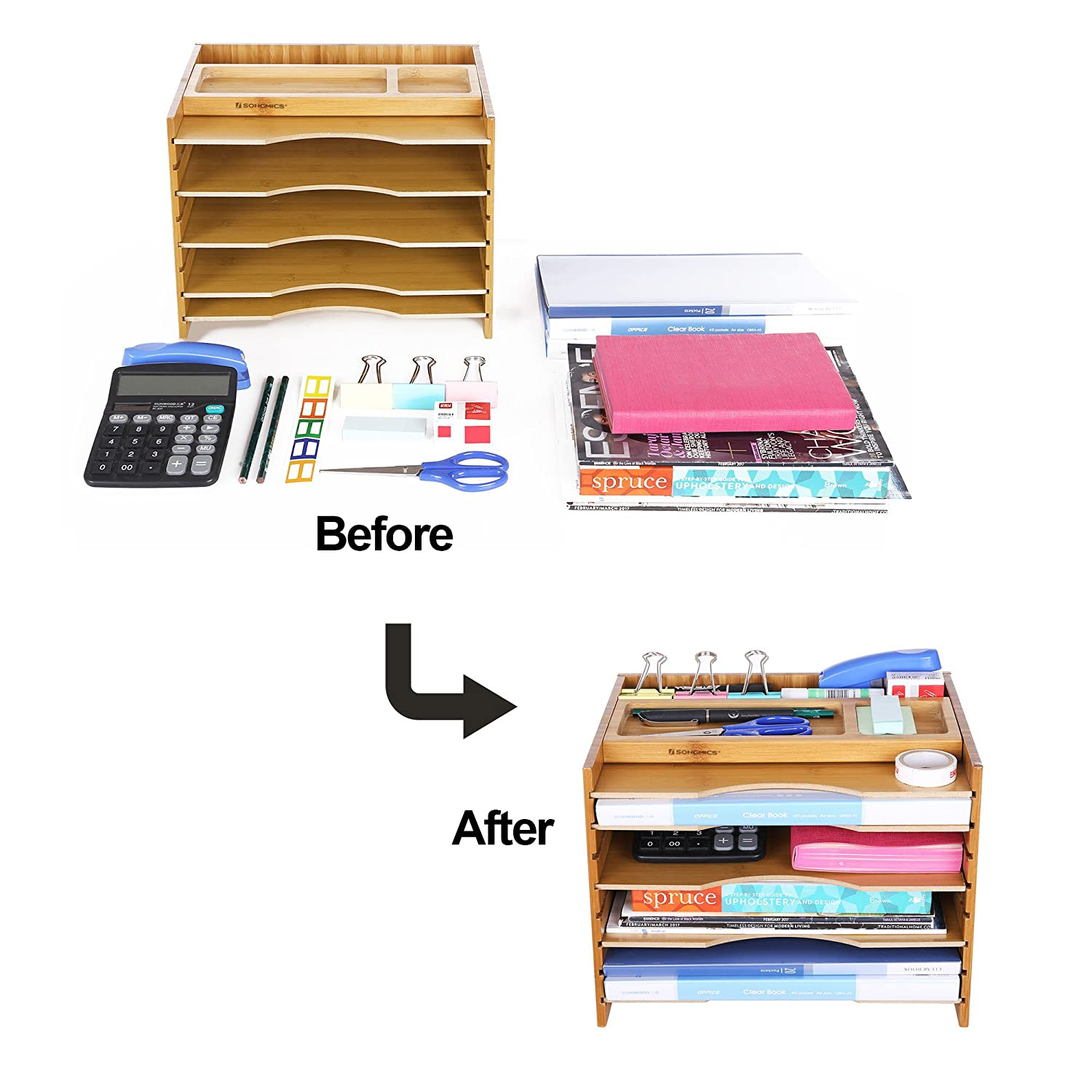 SONGMICS Bamboo File Organizer Paper Sorter with 5 Adjustable Shelves Top Storage Compartments Natural UOFS44Y
