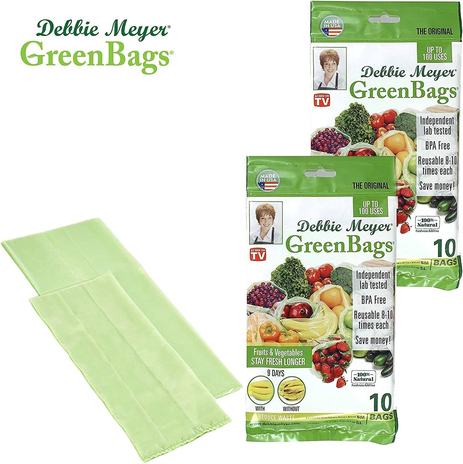 Debbie Meyer GreenBags - Reusable BPA Free Food Storage Bags, Keep Fruits and Vegetables Fresher Longer in these GreenBags!20 Pack (10 Medium, 10 Large)