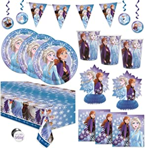 Frozen 2 Theme Birthday Party Supplies Pack - Serves 16 Guests - Banner Decoration, Table & Hanging Decor, Table Cover, Plates, Napkins, Cups, Button