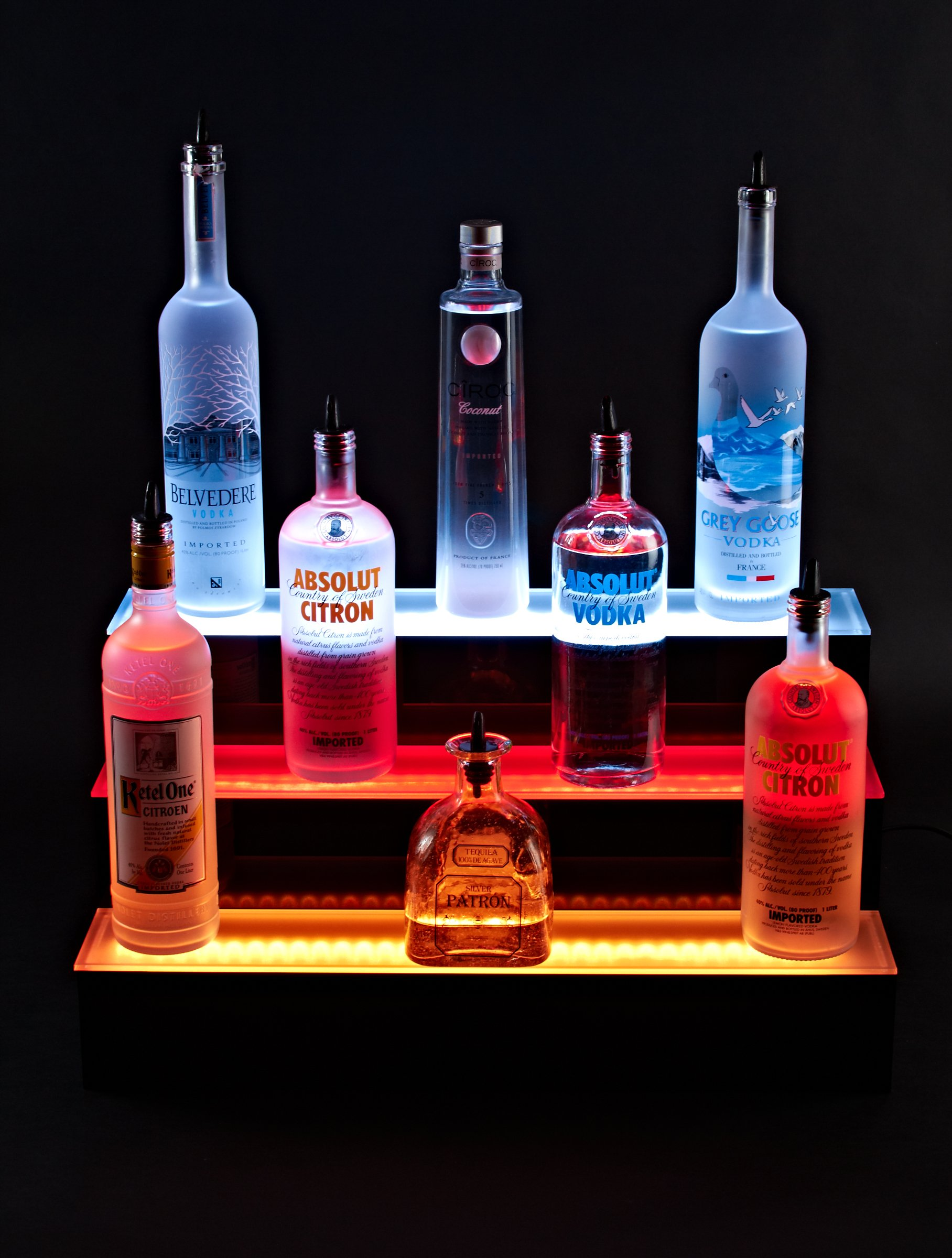 24'' inch 3 Tier Lighted Liquor Shelves Bottle Display LED |Home bar Lights by Armana Productions (Image #1)
