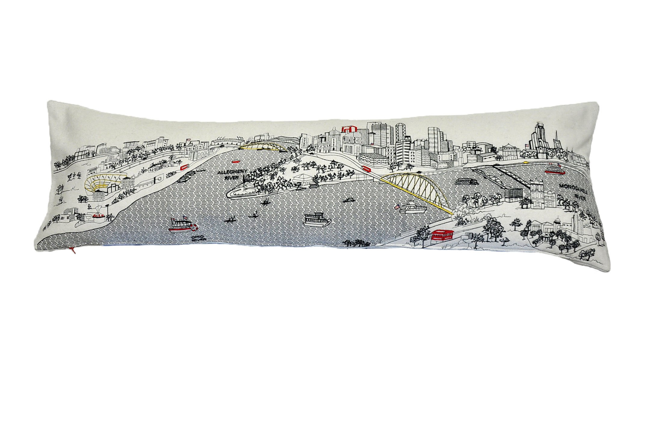 Beyond Cushions Polyester Throw Pillows Beyond Cushions Pittsburgh Daytime Skyline King Size Embroidered Accent Pillow 46 X 14 X 5 Inches Off-White
