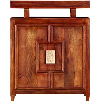 Made Wood Solid Wooden Home Bar Furniture Cabinet in Honey Oak Finish