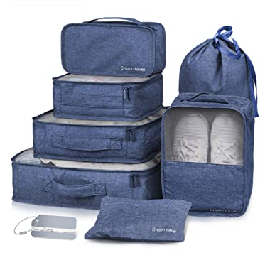 Packing Cubes 7 Pcs Travel Luggage Packing Organizers Set with Laundry Bag by NICEPACK (Navy Blue)