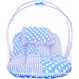 Littly Star Design Cotton Bedding Set with Foldable Mattress, Mosquito Net and Pillow (Sky Blue)