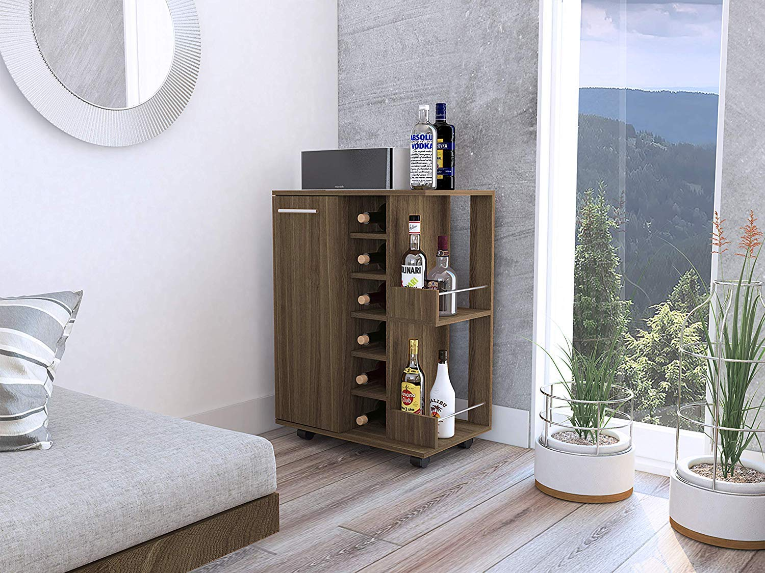 Tuhome Furniture Bar Cart Cabinet in Weathered Oak by Tuhome Furniture