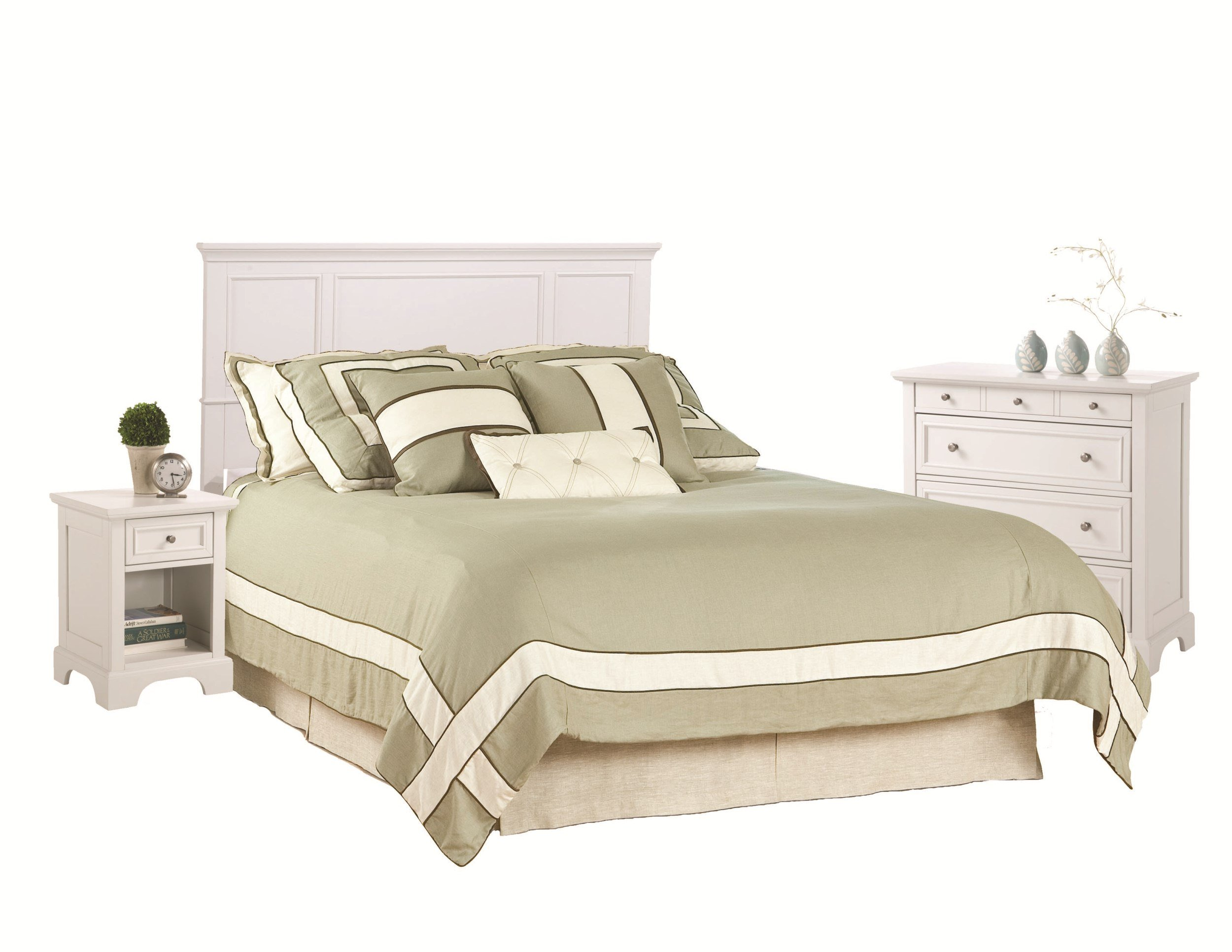 Home Styles 5530-5012 Naples Queen Headboard, Nightstand and Chest, White Finish