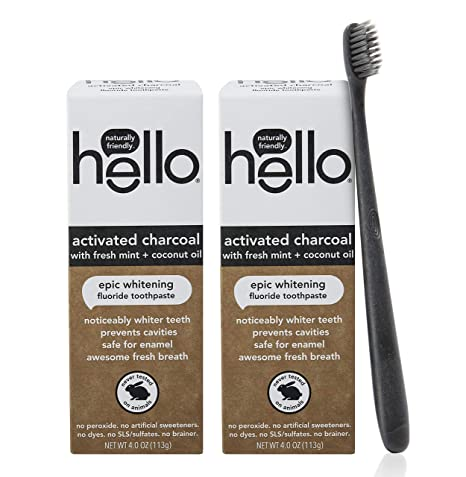 Amazon Com Hello Oral Care Activated Charcoal Whitening Fluoride