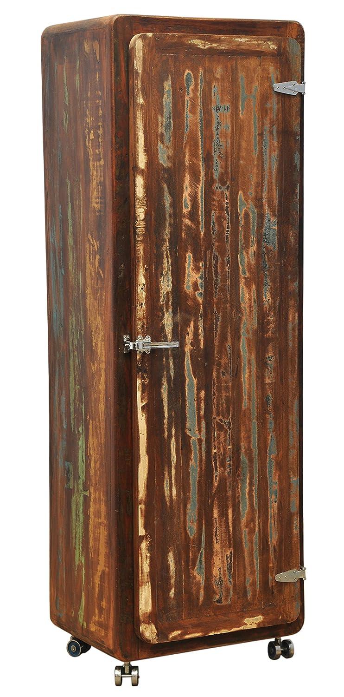 The Wood Times Wohnzimmerschrank Schrank Massiv Vintage Look Rollbar, Recyceltes Massiv Holz, BxHxT 60x165x46 cm