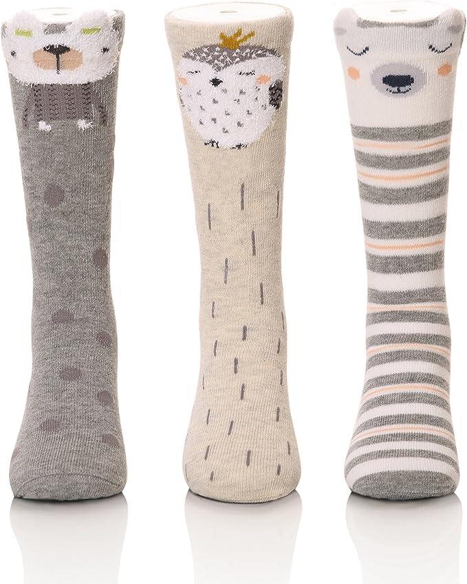 Baby Boys Non Skid Stars Cotton Toddler Socks Soft Knee High Socks 3-Pairs