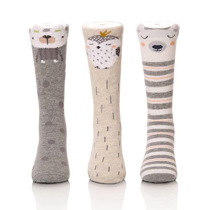 6 Pairs Non Skid Toddler Socks Baby Boy Girl socks with Grid Cotton Knee High Boot Socks