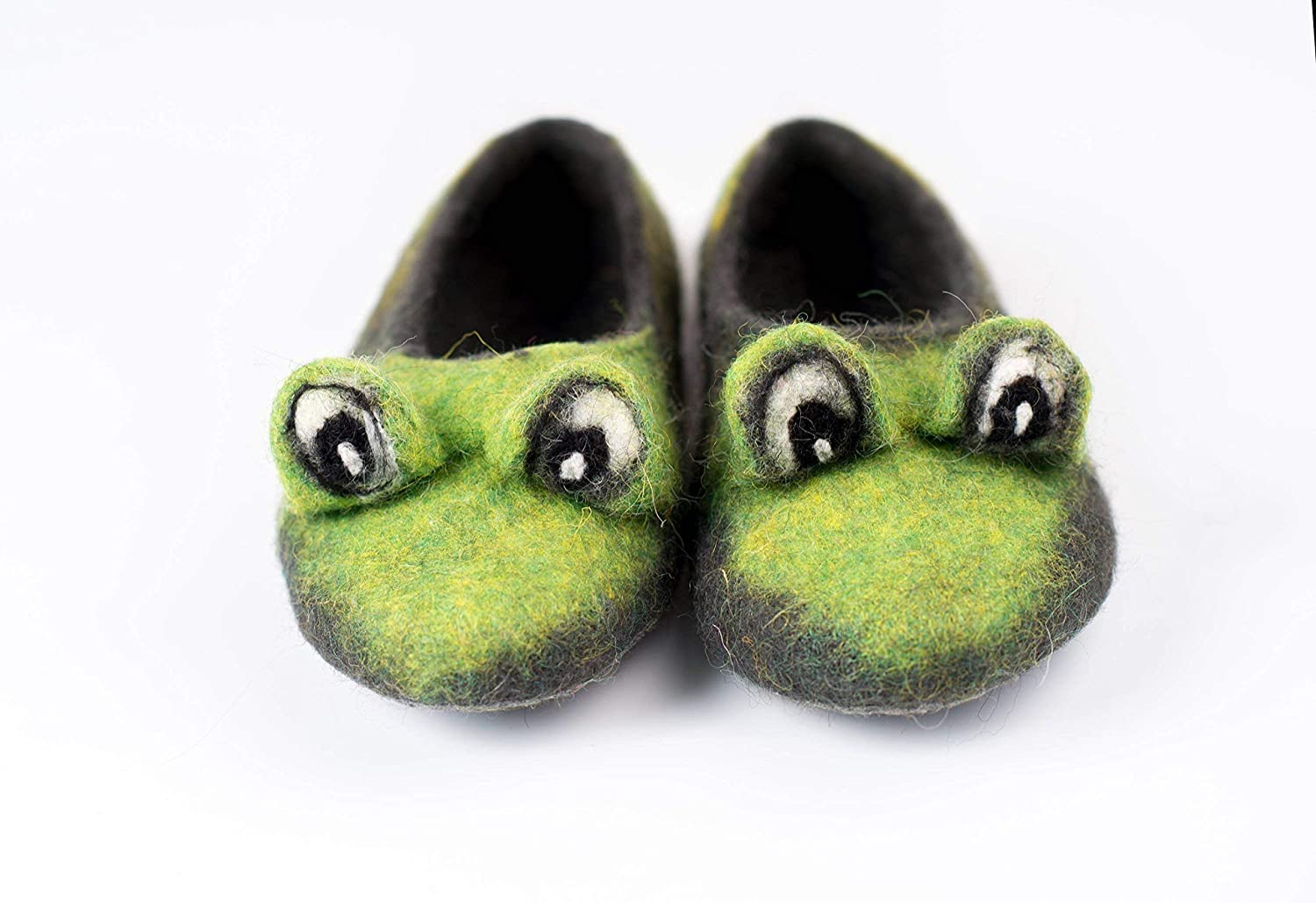 74a91a9a3aca7 Green Frog toddler felted wool slippers, Handmade kids home shoes ...
