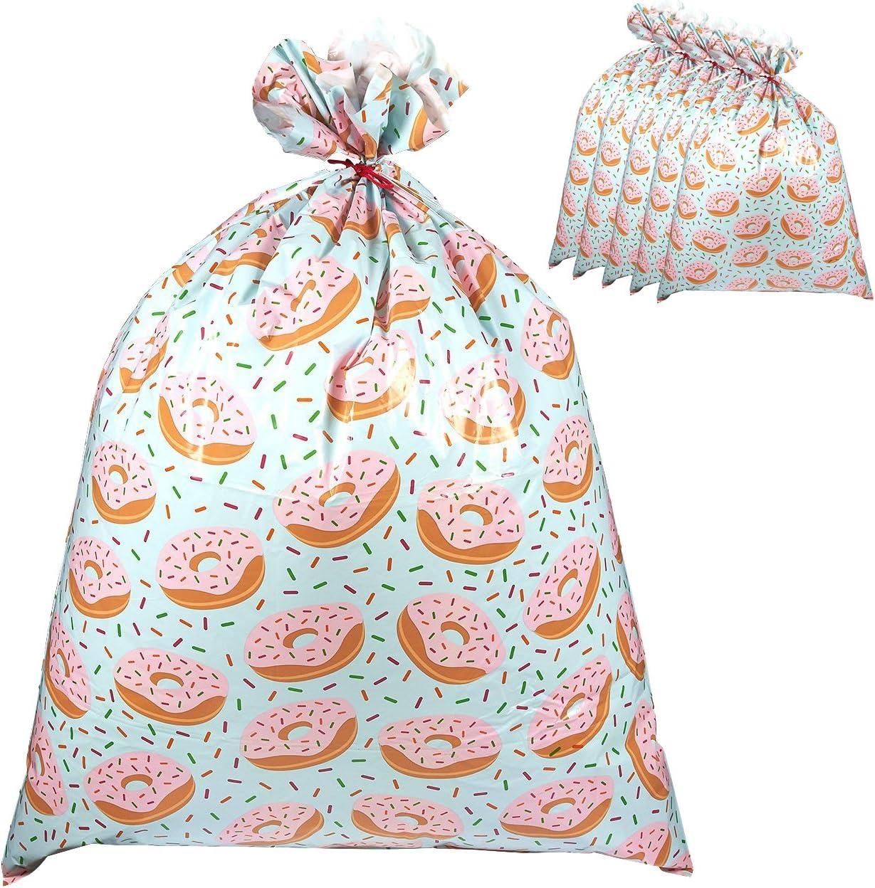 Paquete de 6 bolsas de regalo gigantes de plástico con diseño de donas, perfectas para grandes regalos, incluye cuerdas rojas para atar, 36 x 48 pulgadas