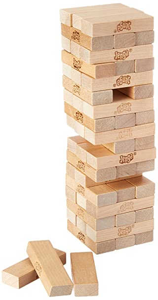 Amazoncom Jenga Game Wooden Blocks Stacking Tumbling Tower Kids