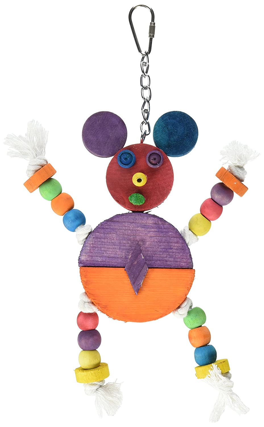"""A&E CAGE COMPANY HB46352 Happy Beaks Crazy Wooden Mouse Assorted Bird Toy, 9 by 11.8"""""""