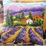 Vervaco, PN-0008637, Cuscino con kit per punto croce, motivo: Campo di lavanda, Multicolore (Multicolor)