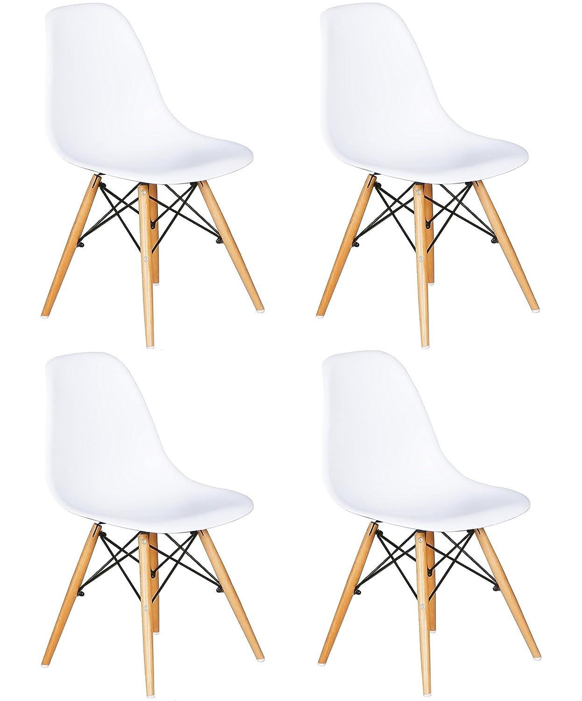 Ensemble de 4 chaises avec Assise en résine, Couleur Blanche, 82 x 46 x 53.5 cm Mmilo® H010 DINAMARSIL BLA