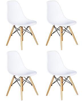 Ensemble De 4 Chaises Avec Assise En Rsine Couleur Blanche 82 X 46
