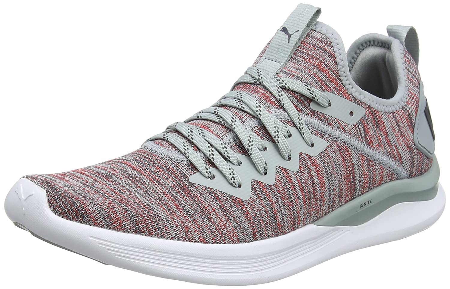 Puma Ignite Flash Evoknit, Scarpe Sportive Outdoor Uomo Grigio (Quarry-high Risk rosso-asphalt) | Consegna Immediata