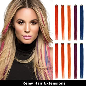 Real Coloured Hair Extensions 5 Colours 16 Inch 10 Pcs Remy Clip In