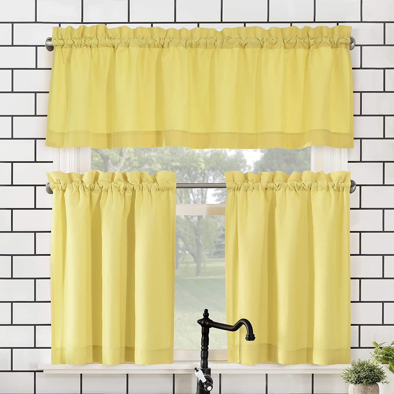 "No. 918 Martine Microfiber Semi-Sheer Rod Pocket Kitchen Curtain Valance and Tiers Set, 54"" x 24"" 3-Piece, Yellow"