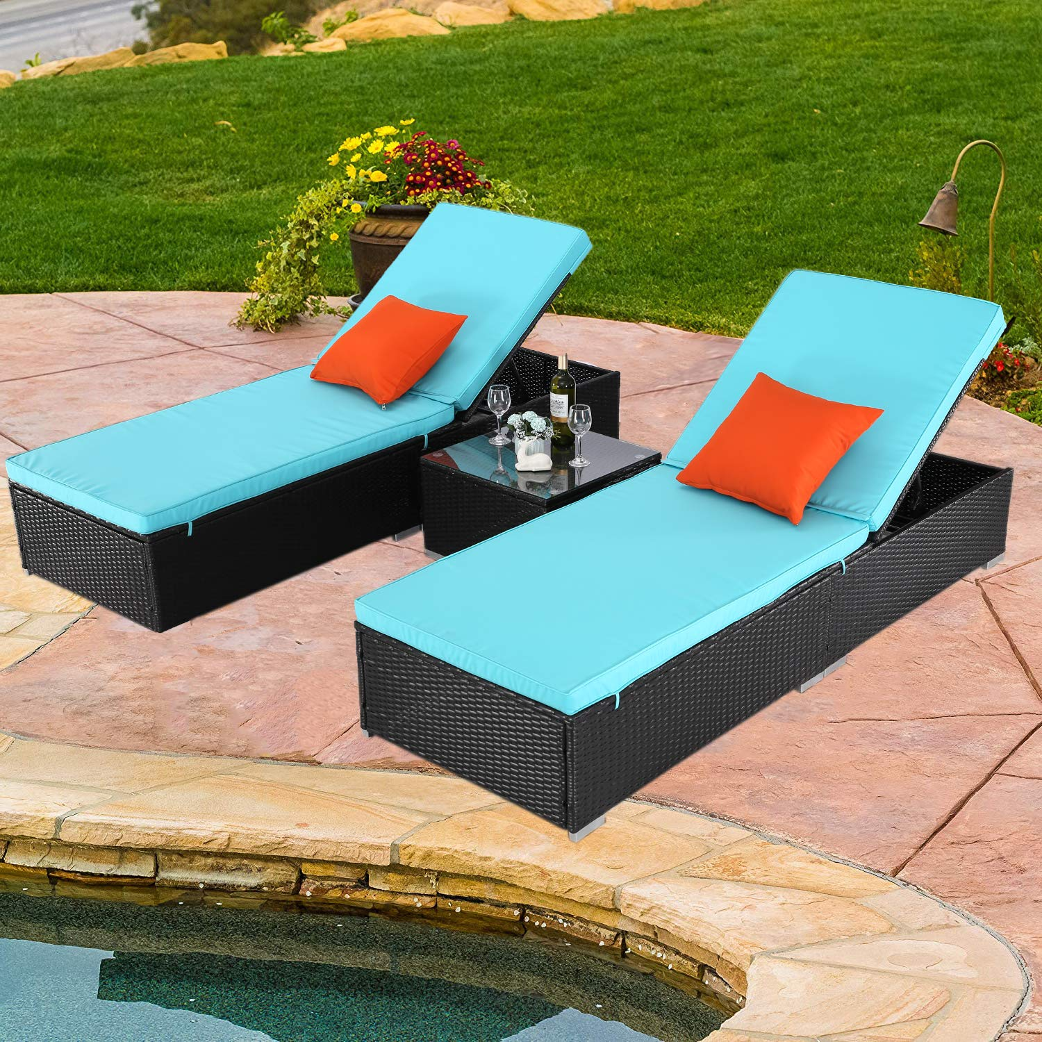 Do4U 3 Pcs Outdoor Patio Synthetic Adjustable Rattan Wicker Furniture Pool Chaise Lounge Chair Set with Table - EXP Rattan with Turquoise Cover (7223-EXP) by Do4U