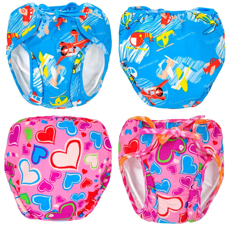 MooMoo Baby Swim Diapers 2pcs Adjustable Reusable Swimpants Baby, 0-3Y, 10-50 lbs Swimmers MooMoo Baby Collection