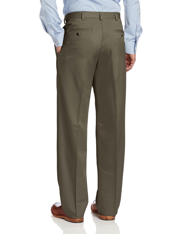 ab36edf4246 Haggar Men's Cool 18 Hidden Expandable-Waist Pleat-Front Pant at Amazon  Men's Clothing store: