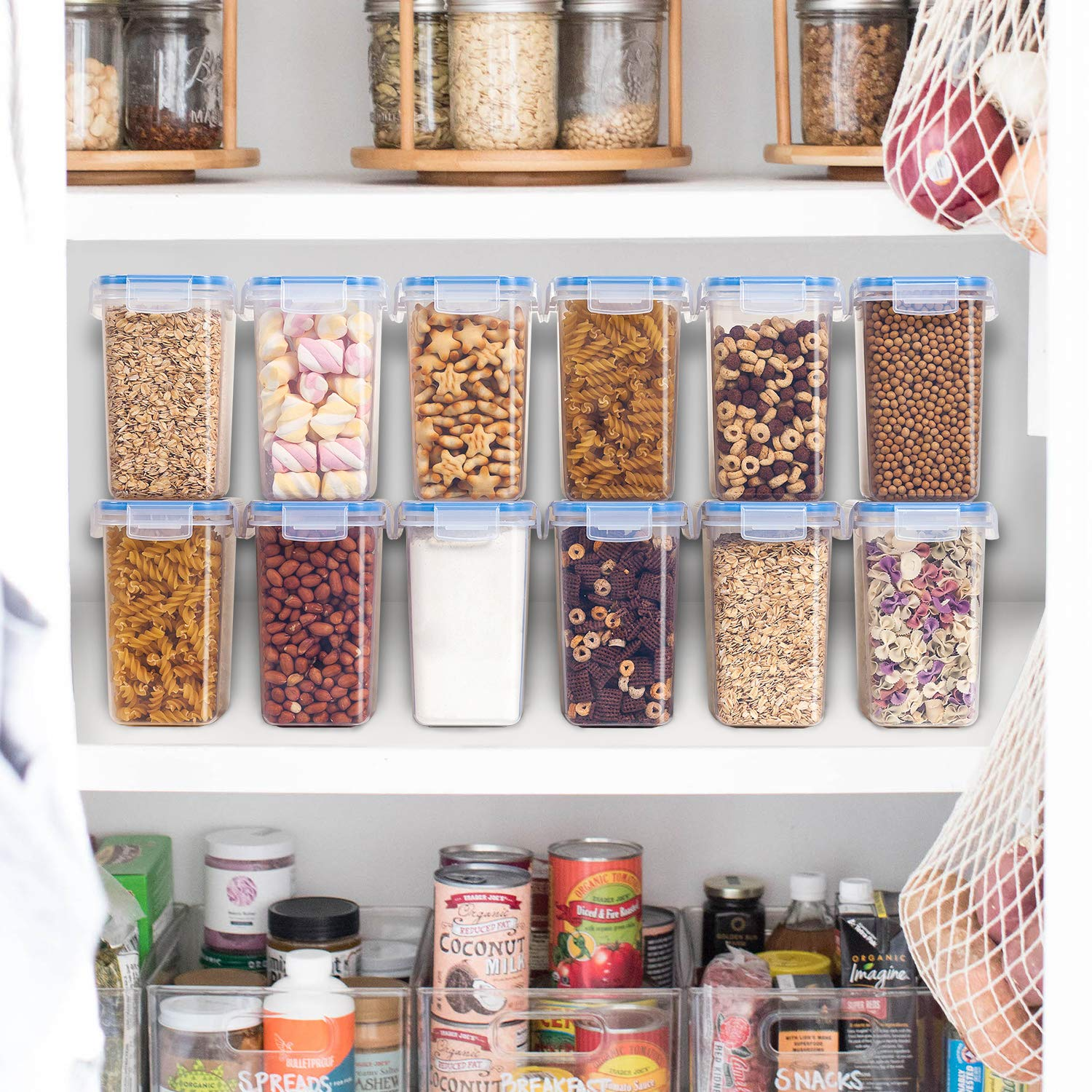 Vtopmart Airtight Food Storage Containers 12 Pieces - Plastic PBA Free Kitchen Pantry Storage Containers for Sugar,Flour and Baking Supplies - Dishwasher Safe - 24 Chalkboard Labels and 1 Marker by Vtopmart (Image #5)