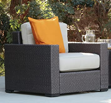 Great Serta Outdoor Collection Arm Chair With Thick 6 Inch Cushions, Beige/Dark  Brown