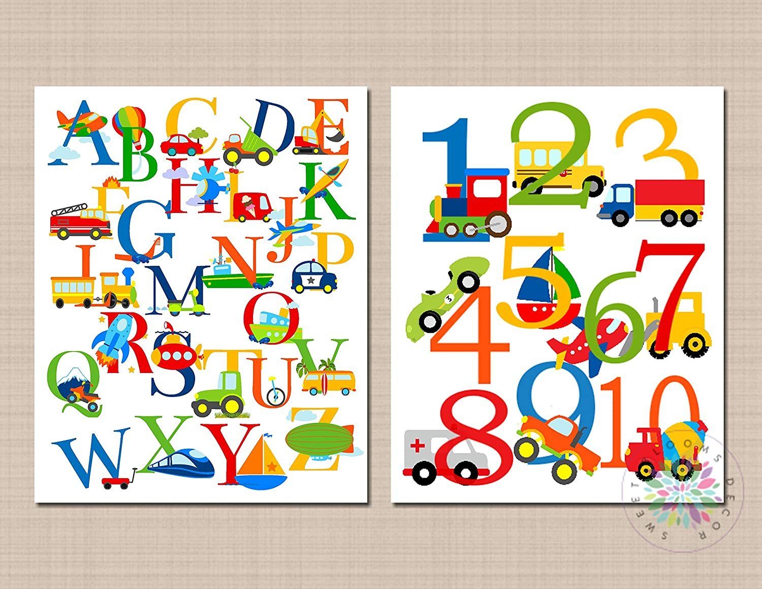 Set of 2 Alphabet and number Print Picture for Playroom Nursery Kids Room