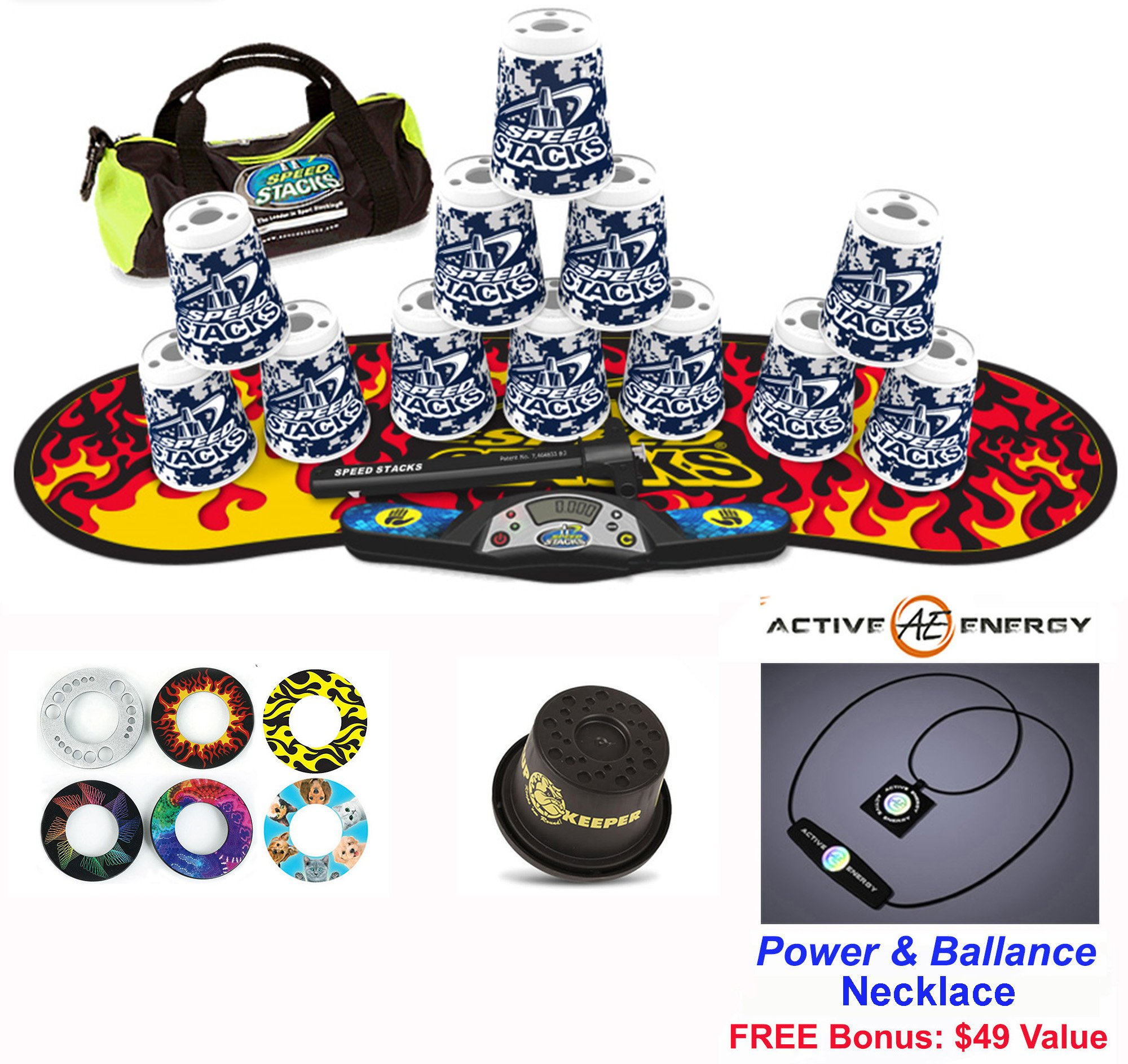 Speed Stacks Combo Set 'The Works'': 12 DIGITAL CAMO 4'' Cups, Black Flame Gen 3 Mat, G4 Pro Timer, Cup Keeper, Stem, Gear Bag + Active Energy Necklace