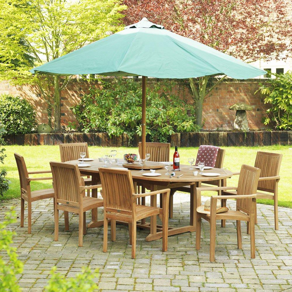 Garten Set–Teak–Esstisch–8Stühlen–ausziehbar oval–Sonnenschirm