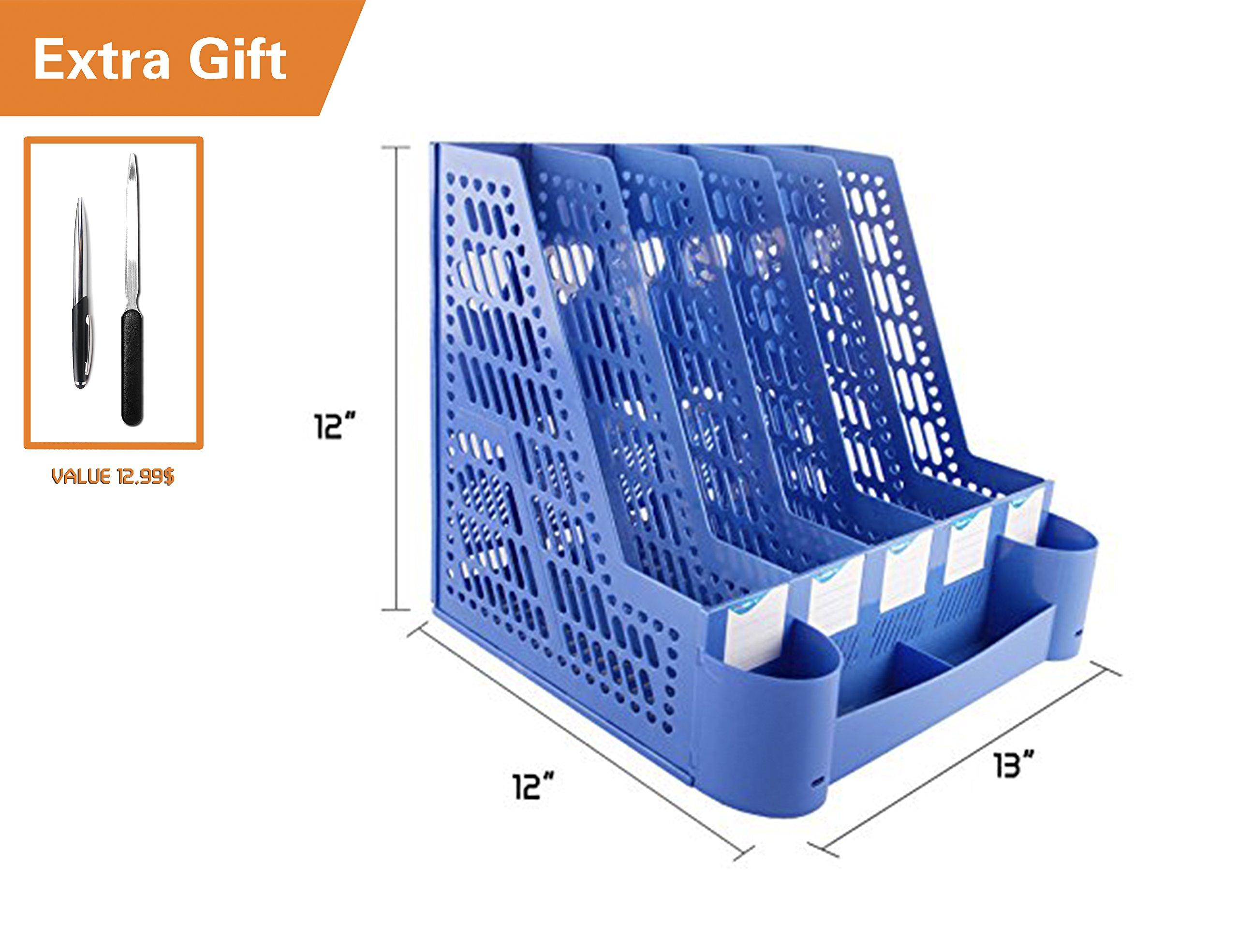 All Décor Office School Home Desk Plastic Magazine Literature File Holder Rack Case Box Crate Organizer,3/4/5 Slots,Blue/Grey. (L 13'' x W 12'' x H 12'')
