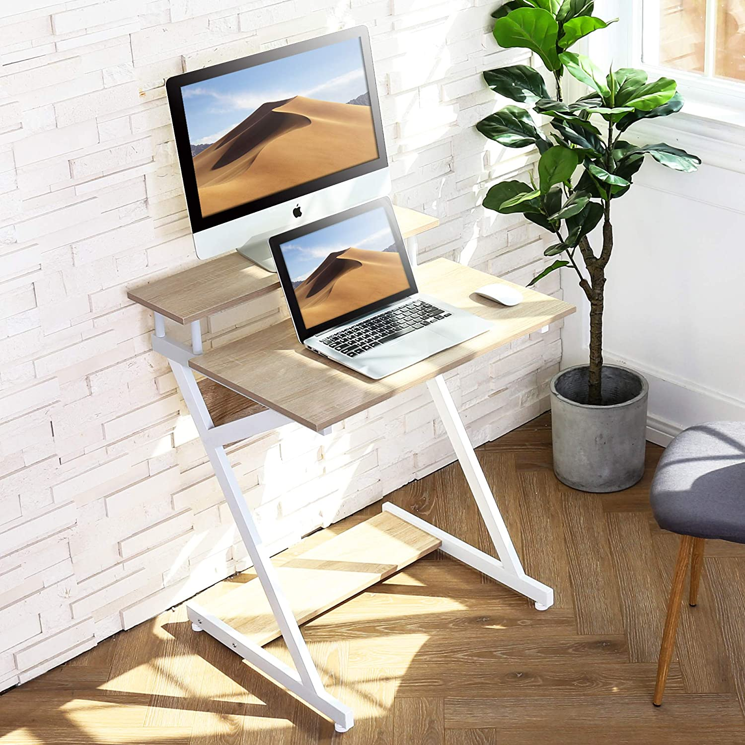FITUEYES Computer Desk with Keyboard Wood White Z-Shaped Writing Table Workstation for Home Office 70x60x84cm CD307003WW