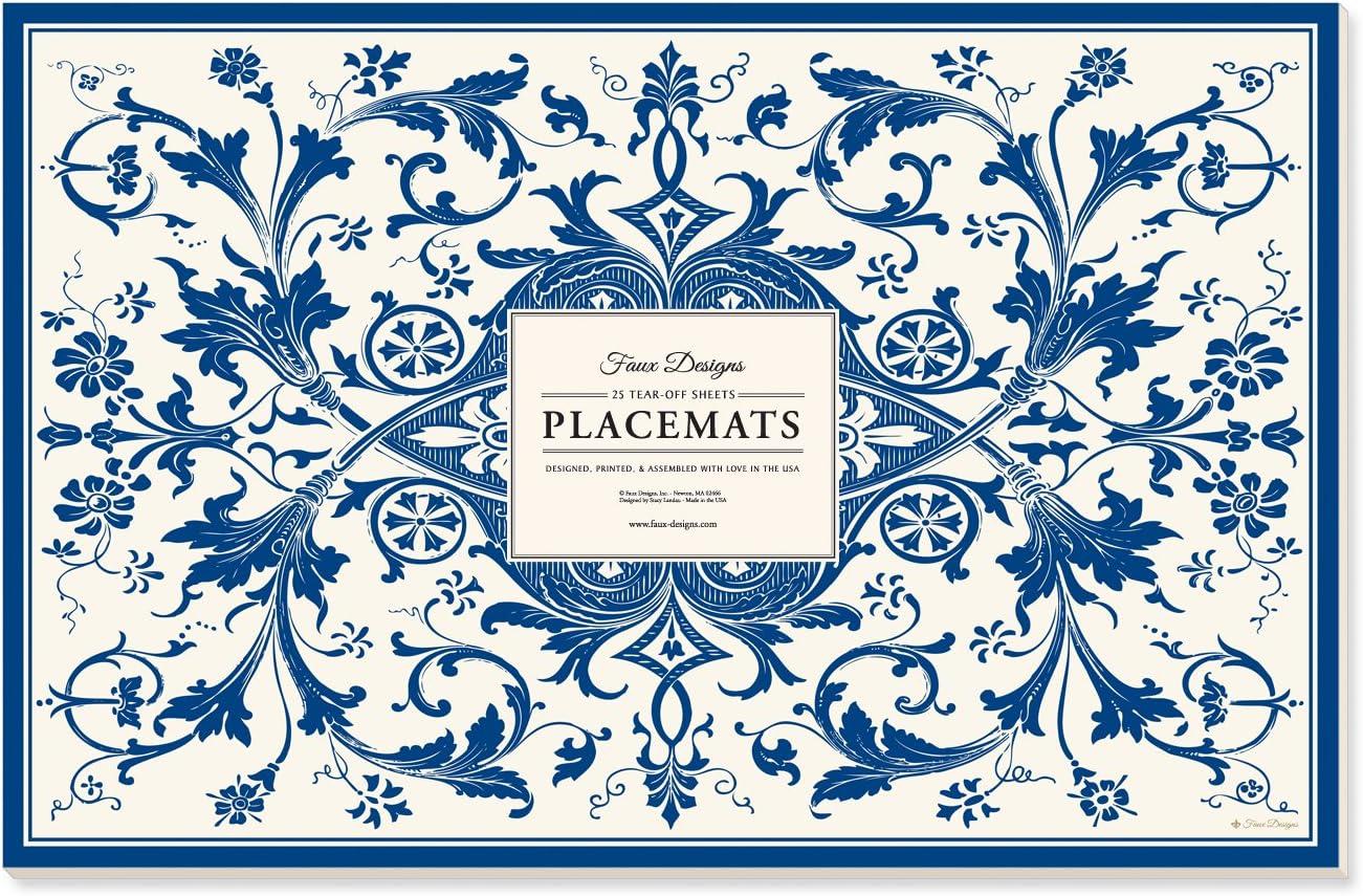Faux Designs Abigail Blue Patterned 25 Count Designer Paper Placemats Easy Elegant Casual Entertaining