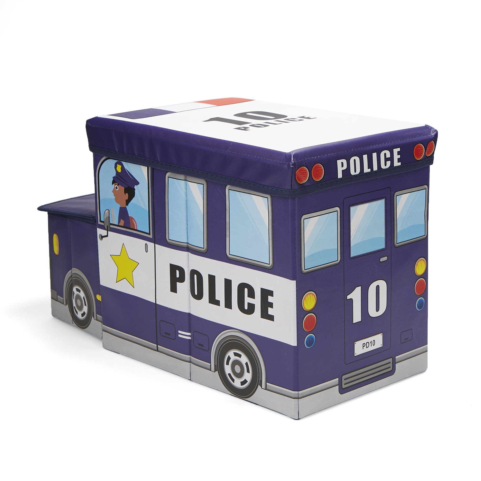 Mind Reader POLISTOOL-BLU Children's Favorite Cartoon Storage Stool/Chair Police Vehicle, Blue