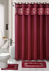 """Kashi Home 15 Piece Shower Curtain Set, Includes Curtain, Hooks and 2 Rugs, 70"""" x 70"""" Floral Draped Leaf Design, Beverly, (Burgundy)"""