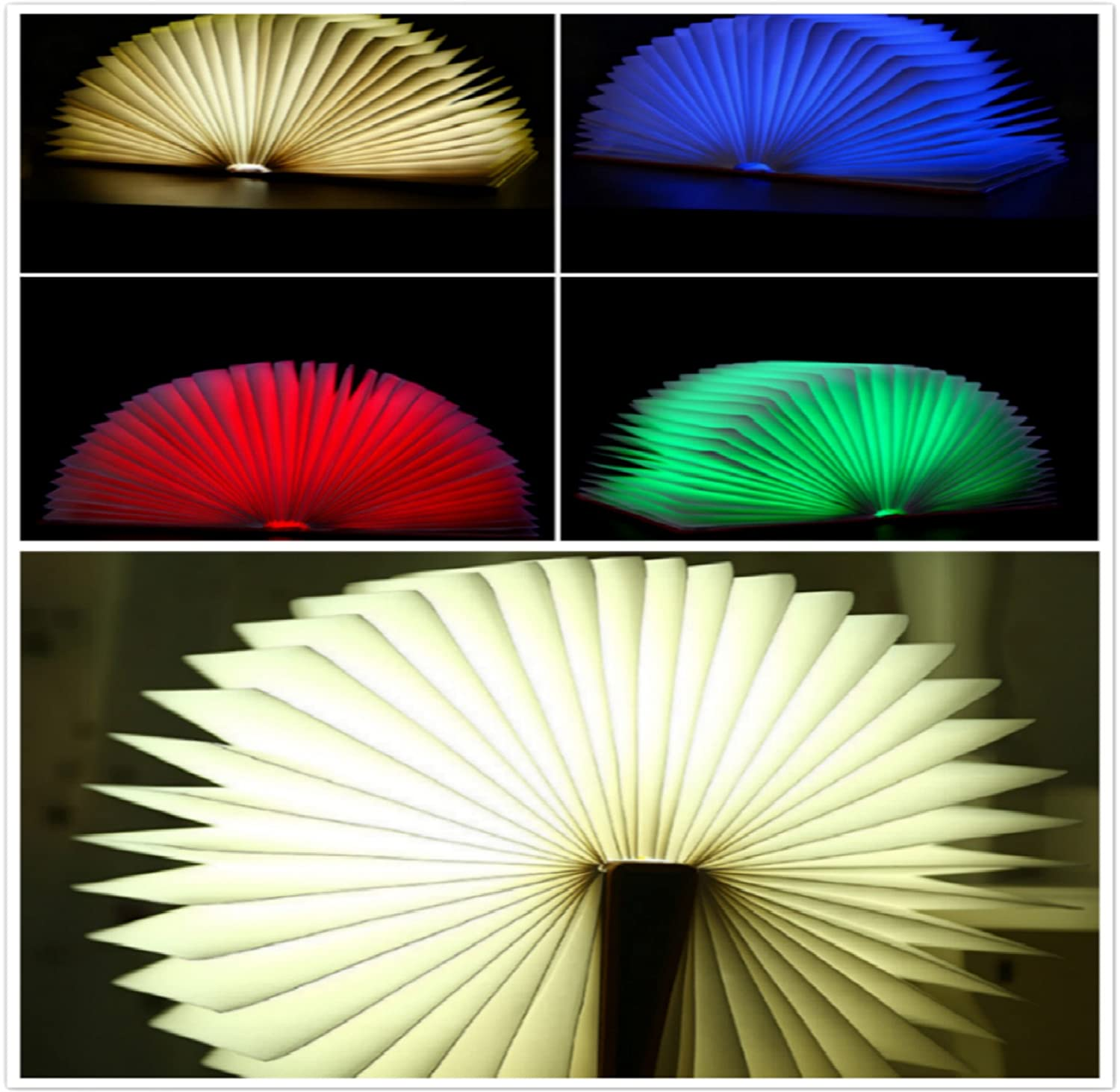 tzwns colorful wooden led folding book lamp booklight night light