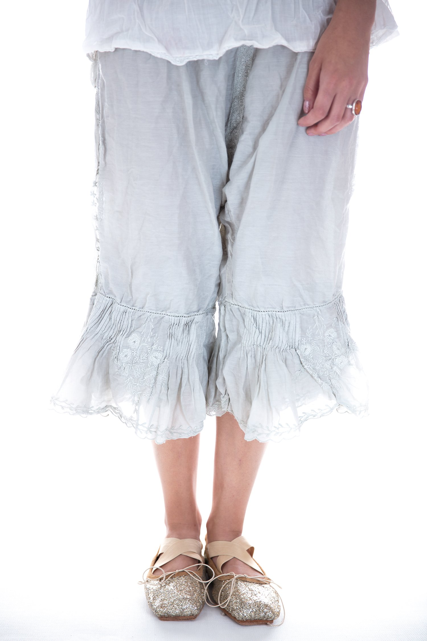 Magnolia Pearl Cotton Silk Wedding Night Bloomers with Floral Emb by Magnolia Pearl