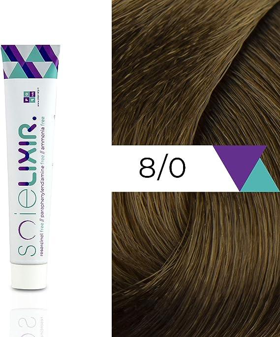 Soielixir Tinte Permanente para Cabello en crema SIN Resorcinol, parafenilendiamina y amoniaco - 93 colores - 100 ml - 8/0 Rubio Claro