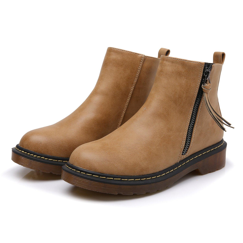 Smilun Kids¡¯s Chelsea Ankle Chelsea Boots Zip Flats Low Heel with Block Western Chunky Heel Chelsea Boots Zip for Kids Brown US6 by Smilun (Image #7)