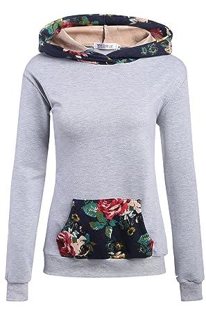 CRAVOG Kapuzenpullover Damen eleganter Pullover Pulli mit Kapuze Blumen  winter herbst Hoodie Sweatshirt schwarz grau weiß feee506c89