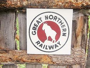 EricauBird Great Northern Railway Wood Sign Glacier National Park Sign Mountain Goat Sign Rustic Railroad Sign Cabin Lodge Decor Bar Decor Wall Art Decor Housewarming Gift