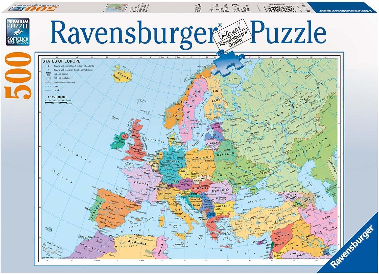 Ravensburger - Mapa politico de Europa, Puzzle de 500 Piezas (14430 3): Amazon.es: Juguetes y juegos