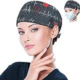 Paquete de 2 gorras Bouffant con botón y banda para el sudor, gorros de trabajo ajustables para mujeres y hombres, talla únic