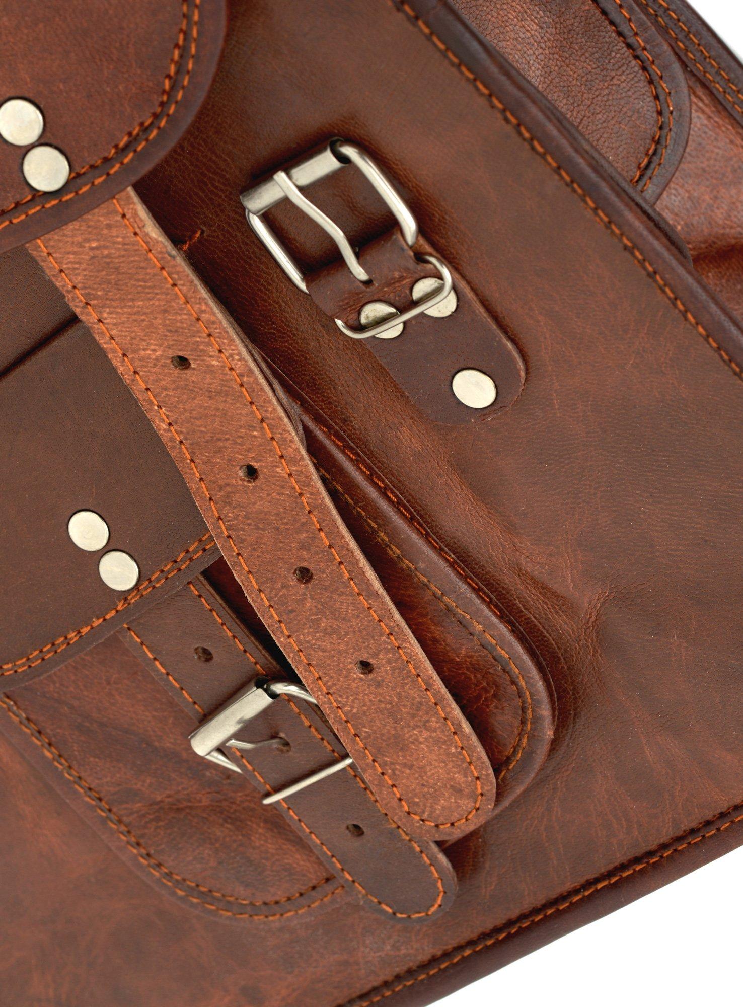 81stgeneration Men's Women's Genuine Large Leather Vertical Messenger Style Backpack Shoulder Bag by 81stgeneration (Image #6)