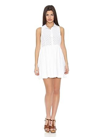 estilo popular proporcionar un montón de auténtico auténtico Springfield Vestido White Embroidery Dress Blanco ES 40 ...