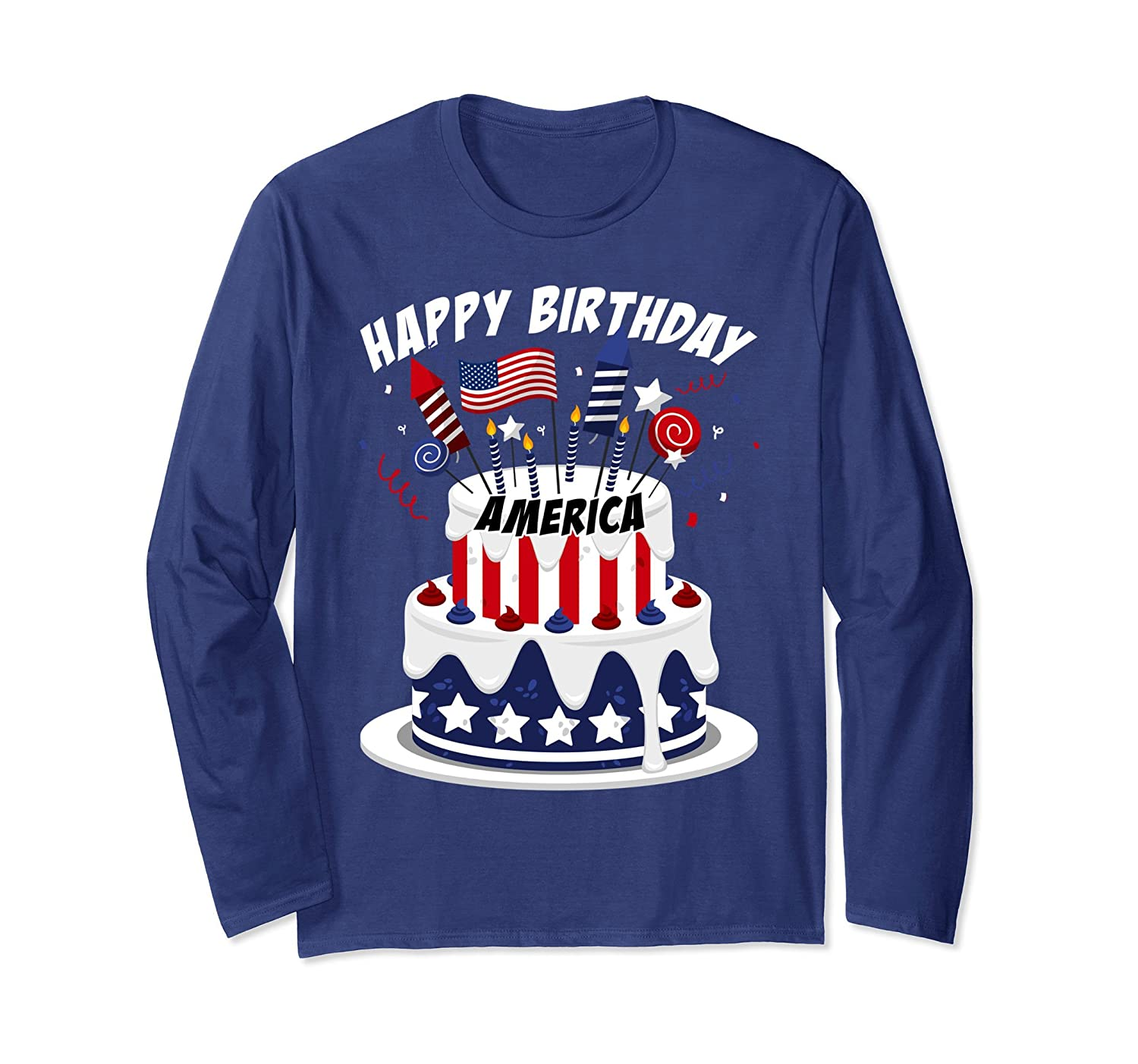 Happy Birthday America Cake Rocket Candle Party T Shirt Ah My One Gift