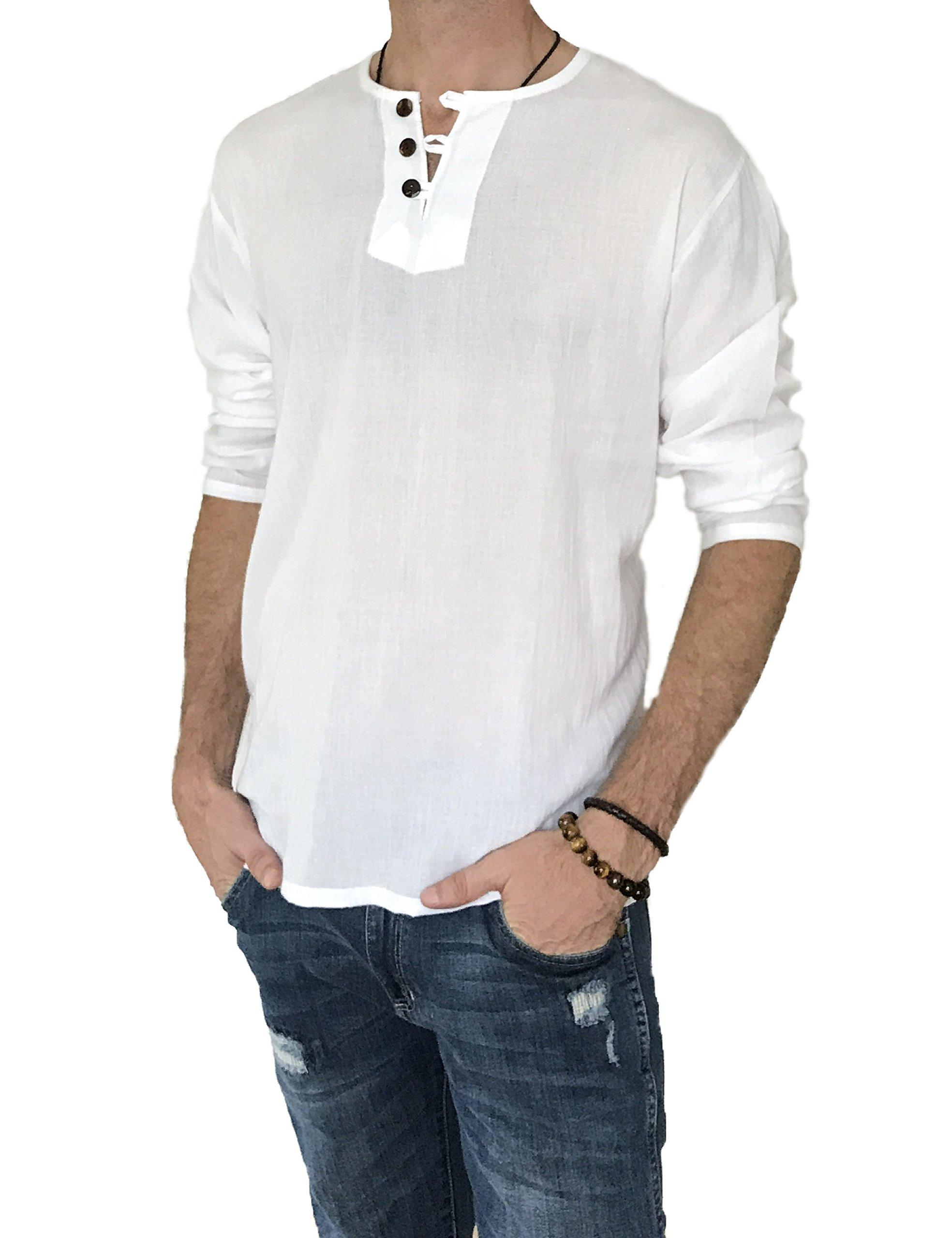 Love Quality Men's Hero 3 Button 100% Cotton Thai Hippie Shirt Pilates Beach Yoga Top (XXX-Large, White)